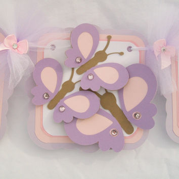 butterfly baby shower banner, its a girl banner, pink and purple