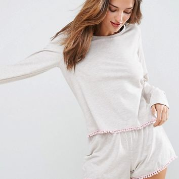 ASOS Oatmeal Pom Pom Long Sleeve Tee & Short Pyjama Set at asos.com
