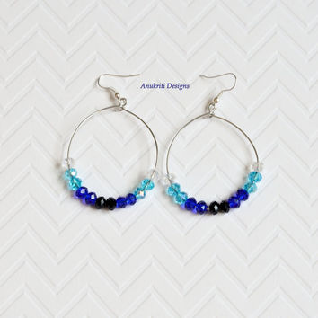 Blue crystal ombre large hoop earrings ** Free US shipping ** Large hoop earrings, blue hoop earrings, crystal earrings, dangle earrings