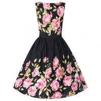 Audrey Pink Rose Border Dress | Vintage Style Dresses - Lindy Bop