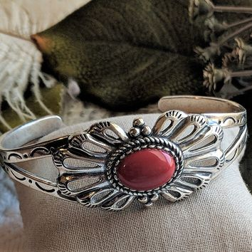 One of a Kind Artisan Crafted Sterling Silver Coral Cuff Bracelet