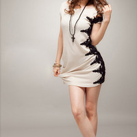 white lateral lace korean style fashion long t-shirt : Wholesaleclothing4u.com