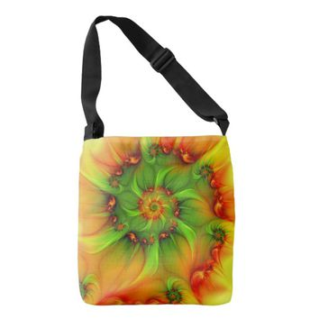 Hot Summer Green Orange Abstract Colorful Fractal Crossbody Bag