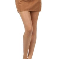 Lace Up Suede Skirt - Camel
