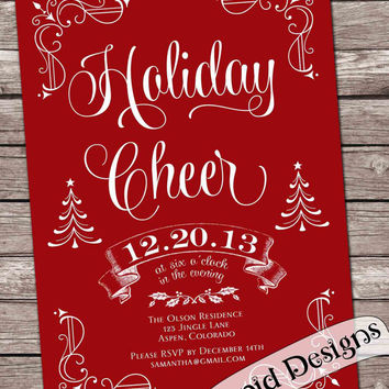 Holiday Cheer Christmas party invitation card, chalkboard invitation, printable, custom.