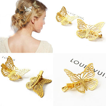 4 PCS Fashion Hair Accessories Headwear Hair Grips Metal Gold Butterfly Hair Clip Hairpins Barrette Jewelry For Women Girls