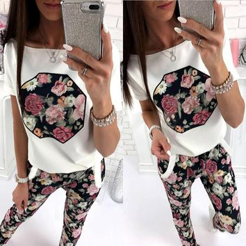 White and Black Floral Sweat Suits