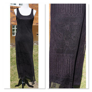 Vintage Lacy Black Tank Dress, LBD, Alyn Page, Maxi Dress, Long Length, Sleeveless, Boho, Bodycon, Lace Overlay, Little Black Dress