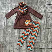 new FALL/Winter Thanksgiving Aztec 3pieces scarf pumpkin brown pant sets baby girls print boutique clothes kids wear sets