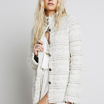 Free People Womens Swing Shaggy Sweater Jacket