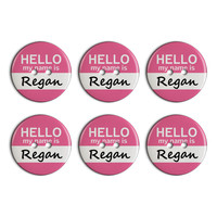 Regan Hello My Name Is Plastic Resin Button Set of 6