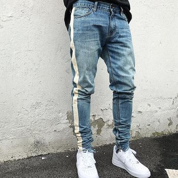kanye west black Skinny Jeans Men Hip Hop stripe Ripped Elastic Slim Fit Jeans Men brand biker Jeans Denim Jogger Design