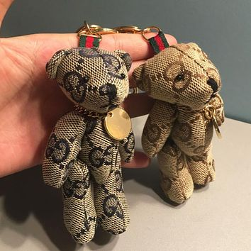 GUCCI Fashion new more letter women and men cute bear key chain bag pendant accessories two color