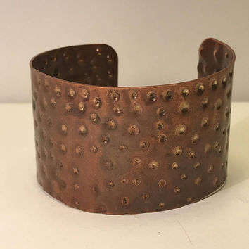 Large Chunky Hammered Copper Cuff / Adjustable Textured Extra Wide Cuff / Rustic Boho Jewelry / Rough Flexible Bangle Style Bracelet