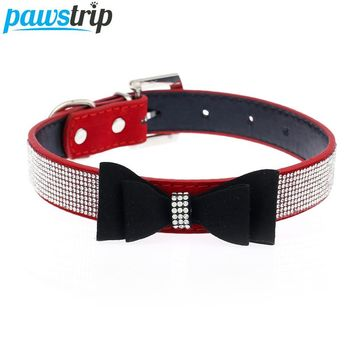 Cute Bow Design Dog Collar Bling Crystal PU Leather Suede Pet Puppy Neck Collar Lead S/M/L