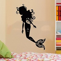 Wall Decal Vinyl Sticker Decals Mermaid Nymph Nature Hair Beauty Sea Animal Wall Stickers Home Decor Nautical Bathroom Art Bedroom Design Interior Wall Decor Mural C587