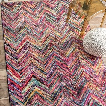 Geometric Soft Abstract Rainbow Chevron Area Rug Turkey