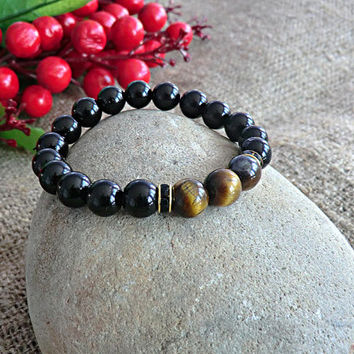 Tiger Eye Bracelet Mens Beaded Bracelet Stone Bracelet Mens gift Bracelet for men Mens Bracelet Men Jewelery