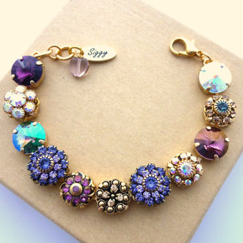 "Swarovski crystal 12mm bracelet with purple and AB flower embellishments on gold plated chain ""VERBENA""  by Siggy Jewelry"