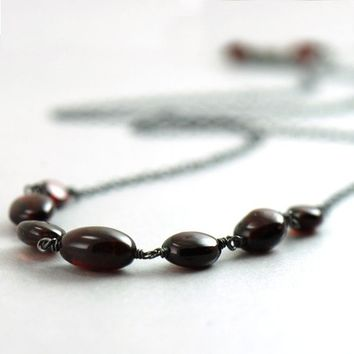 Dark Red Garnet Necklace in Sterling Silver January by aubepine