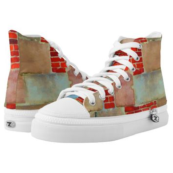 Industrial looking and rustic brick wall printed shoes