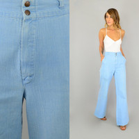 70's BABY BLUE High Waist bohemian hippie Wide Leg Bell Bottom belt loops DENIM jeans w/ pockets, extra small-small