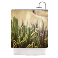 "Jillian Audrey ""Green Grass Cactus"" Green Brown Shower Curtain"