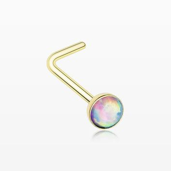 Golden Fire Opal L-Shaped Nose Ring