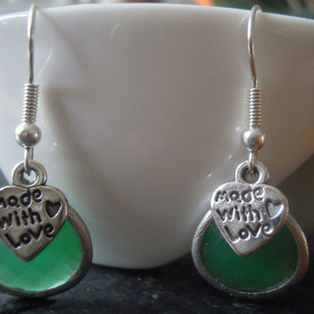 Matt Gold Earrings  Framed Green Jade Glass Stone Pendant with Antique Silver Mini Heart Made With Love Charm