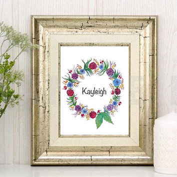 Watercolor floral wreath, Personalized print, Nursery Art, Custom name wreath, Hand painted flowers, initials, words or Birth announcement