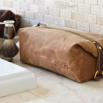 NO. 345 Personalized Dopp Kit, Brown Waxed Canvas