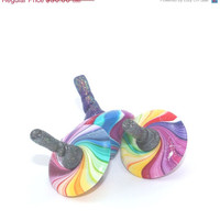 HOLIDAYS SALE Small rainbow spinning tops, unique dreidels, set of 3 polymer clay colorful dreidels, great Hanukkah gift idea, toy for all