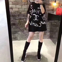 """CHANEL"" Fashion Personality Letter Print Loose Short Sleeve T-shirt Mini Dress"