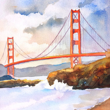 Original Watercolor San Francisco Golden Gate Bridge California, 9x12, Famous Bridge Landmark Architecture