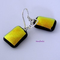 Golden Yellow Sunshine Dichroic Glass Handmade Dangling Earrings.