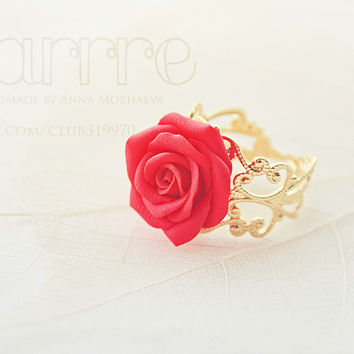 Red Rose Ring, Red Flower Ring, Red Ring,  Adjustable Ring, Polymer Clay Jewelry, Rose Ring, Gold Ring, Fashion Ring,cute ring, Scarlet Rose