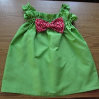 Green summer dress, big bow girl dress, White toddler dress with blue bow, baby wedding dress,