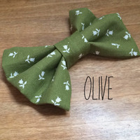 Sage Green Floral Fabric Hair Bow