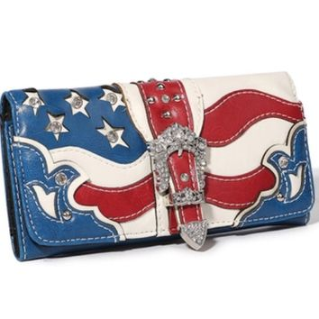 Western Cowgirl USA Flag Design Rhinestones Belt Tri-fold Wallet