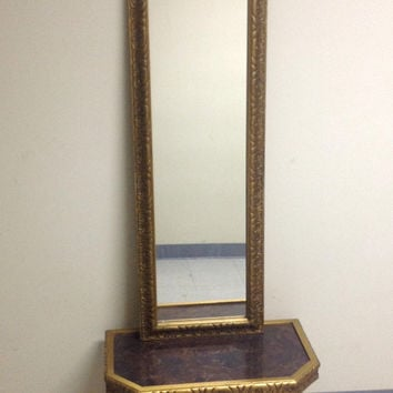 Mid Century Hollywood Regency Illinois Moulding Pier Console Mirror Set with Table / Shelf
