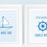 Sailboat / Nautical Nursery Art Print SET for Baby Boy - Little Sailor Man & No Wake Zone 8x10 Nursery or Kids Wall Art - Shown in Blue