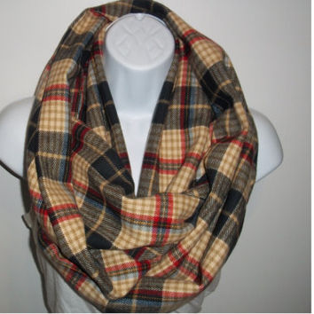 Plaid Circle loop Cotton Soft infinity scarf thick Flannel infinity  wrap cotton cowl