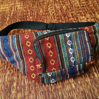 Festival Fanny packs Belt Bum bag Tribal Ethnic Aztec fabric Travel phanny waist Ikat Hippies Gypsy Bohemian Hipster fashion Blue red Gift