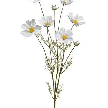 "Artificial Cosmos Flowers in White - 31.5"" Tall"