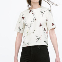 White Floral Print Short Sleeve Blouse