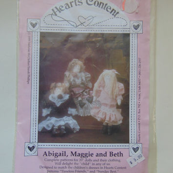 Hearts Content Craft Sewing Pattern Abigail, Maggie and Beth 20 inch Dolls