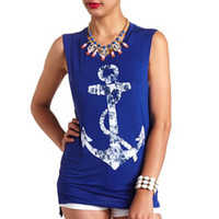 LONG FLORAL ANCHOR GRAPHIC MUSCLE TEE