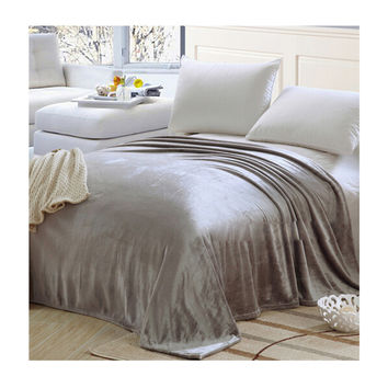 Plush Soft Queen Soild Color Micro fleece Bed Throw Blanket  Gray