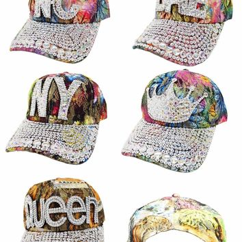 Denim Lace Rhinestone Adjustable Strap Baseball Cap Hat in 5 Styles