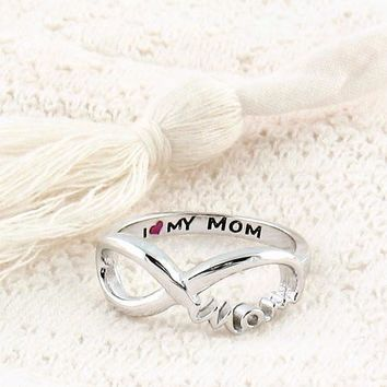 """I Love My Mom"" Infinity Ring"